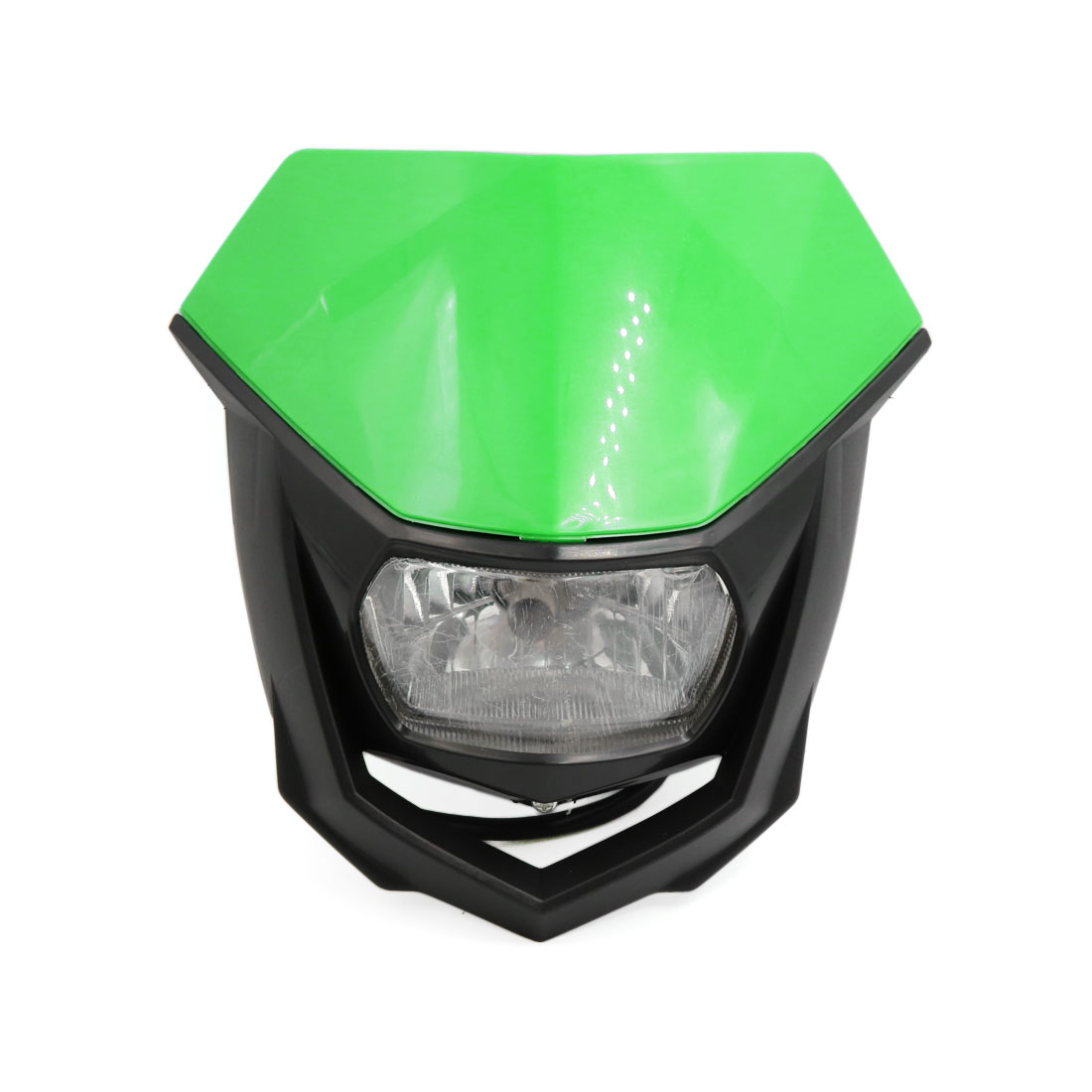 Black Green Shell Motorcycle Streetfighter Headlight Fairing Lamp Light Yellow