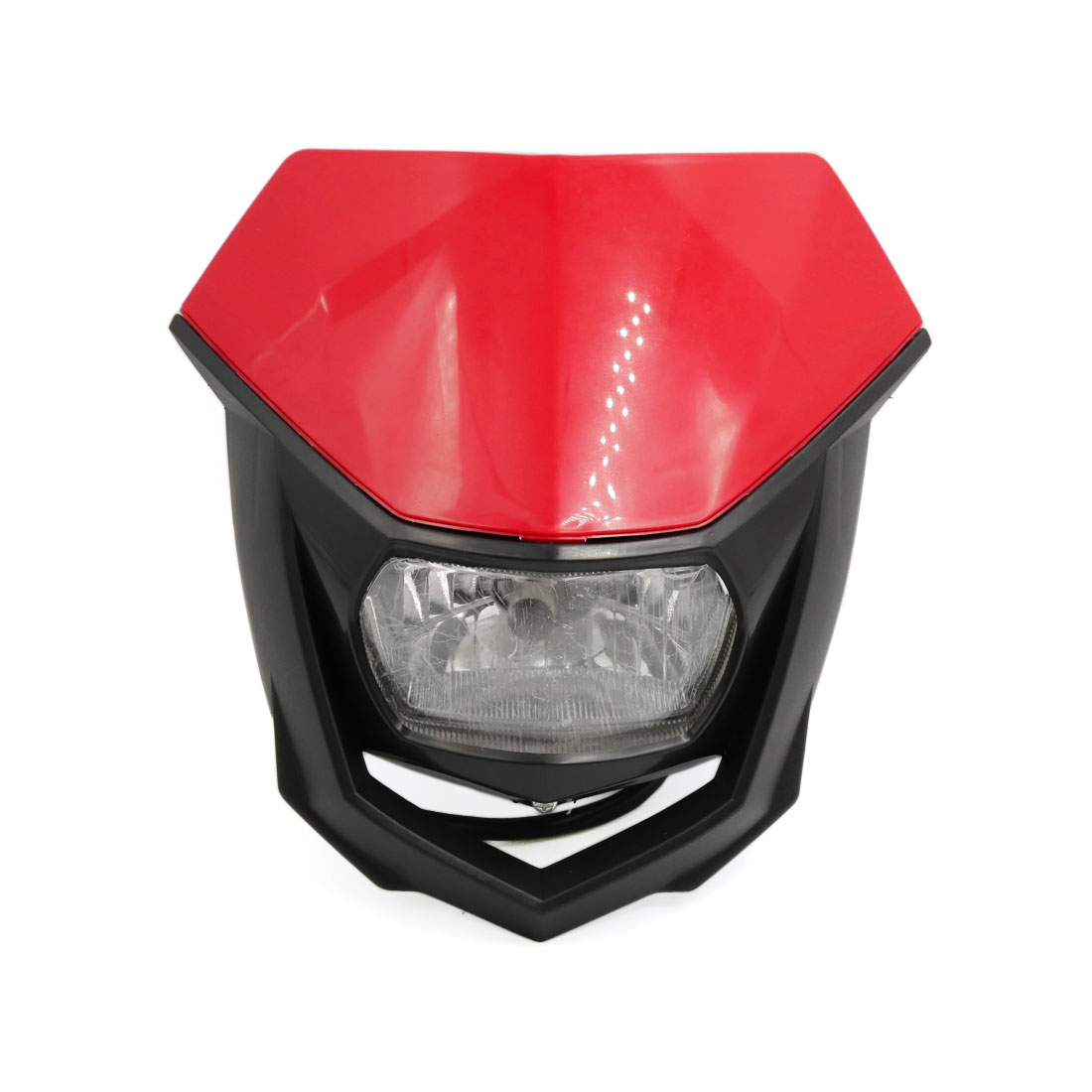 Black Red Shell Motorcycle Streetfighter Headlight Fairing Lamp Light Yellow