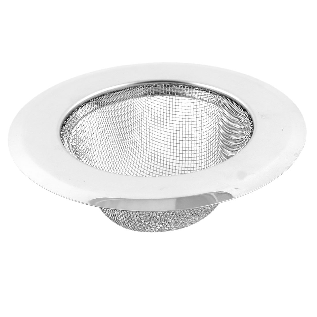 Kitchen Bathtub Bathroom Metal Round Shaped Filter Sink Strainer Silver Tone