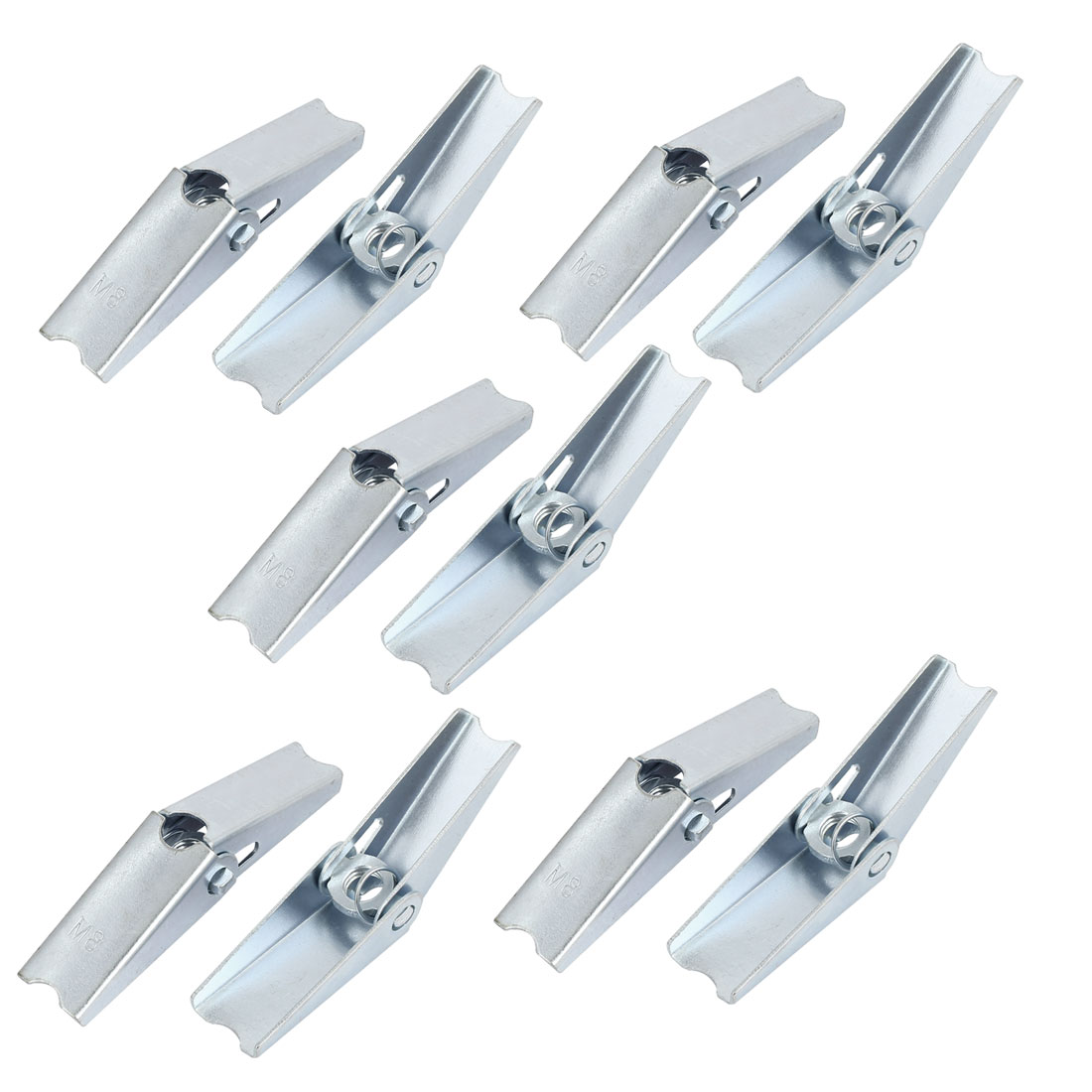 M8 Dia Female Thread Spring Loaded Hollow Wall Anchor Toggle Wing Nut 10pcs