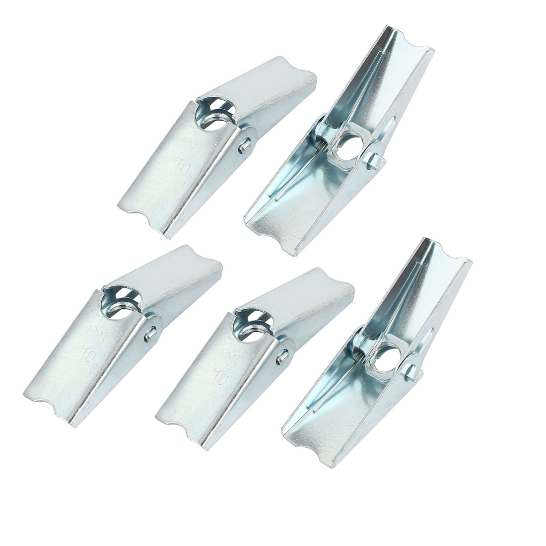 M10 Dia Female Thread Spring Loaded Hollow Wall Anchor Toggle Wing Nut 5pcs