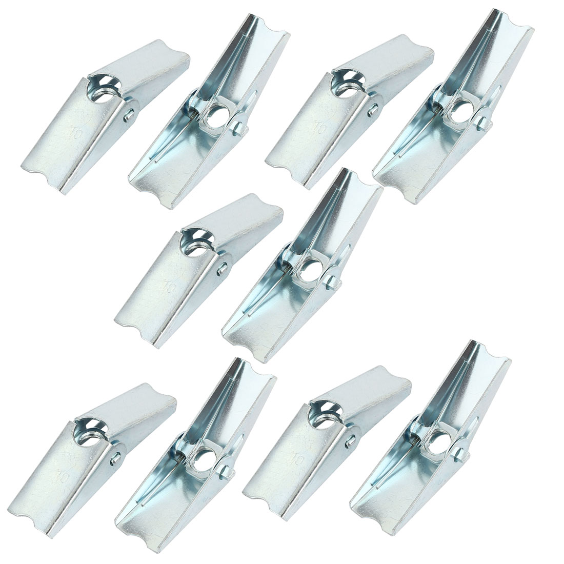 M10 Dia Female Thread Spring Loaded Hollow Wall Anchor Toggle Wing Nut 10pcs