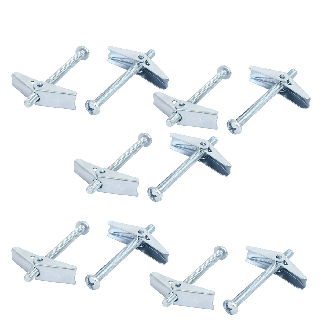 "1/4"" x 3"" Male Thread Spring Loaded Hollow Wall Round Head Toggle Bolt 10pcs"