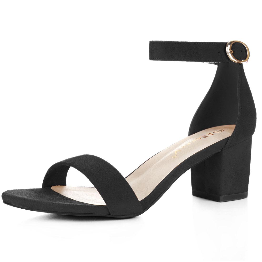 Women Open Toe Mid Block Heel Ankle Strap Sandals Black US 4.5