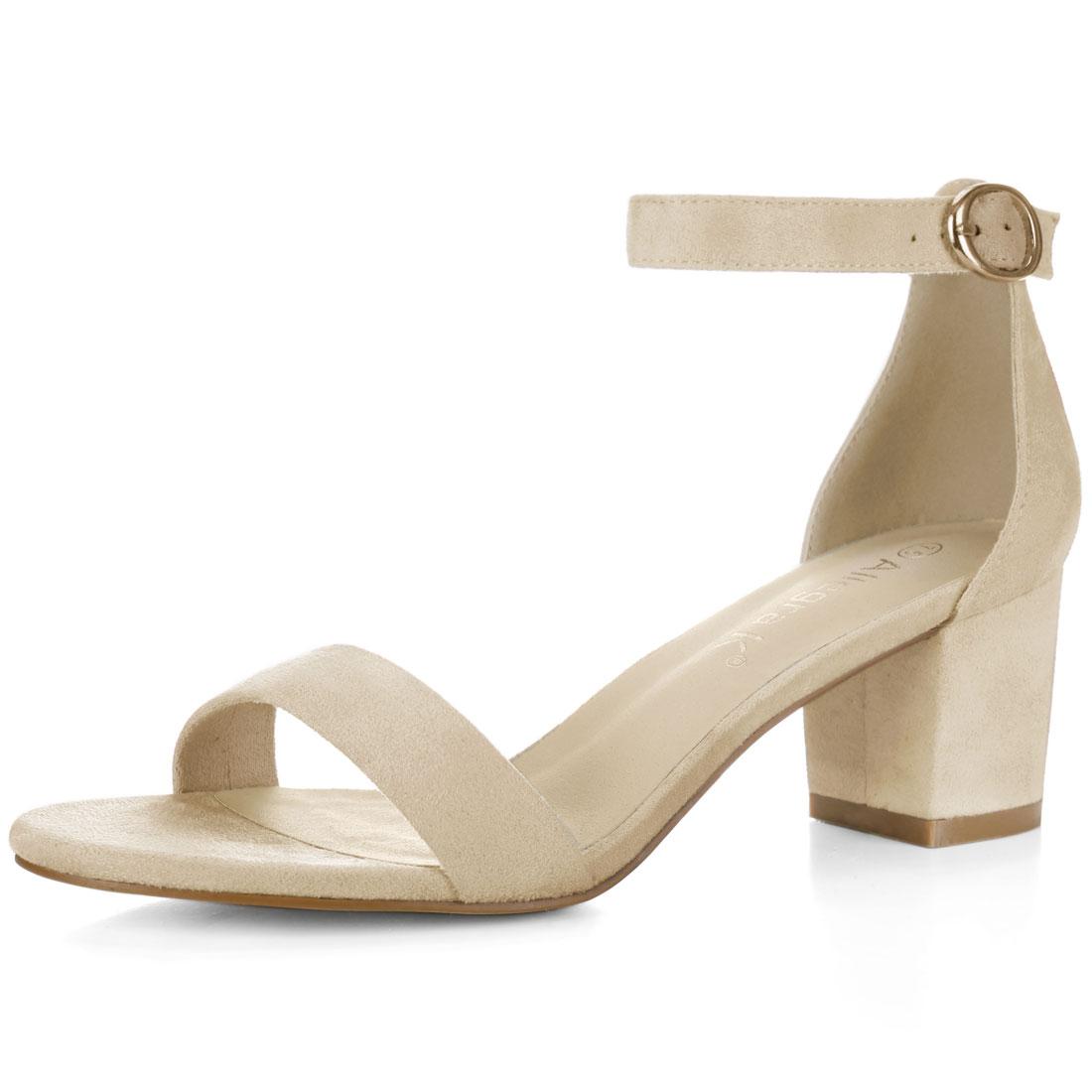 Women Open Toe Mid Block Heel Ankle Strap Sandals Beige US 4.5