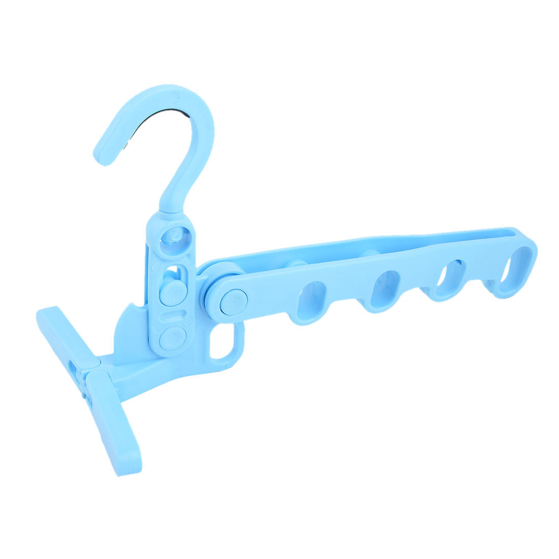 Home Living Room Plastic 5 Holes Foldable Door Wardrobe Clothes Hanger Hook Blue
