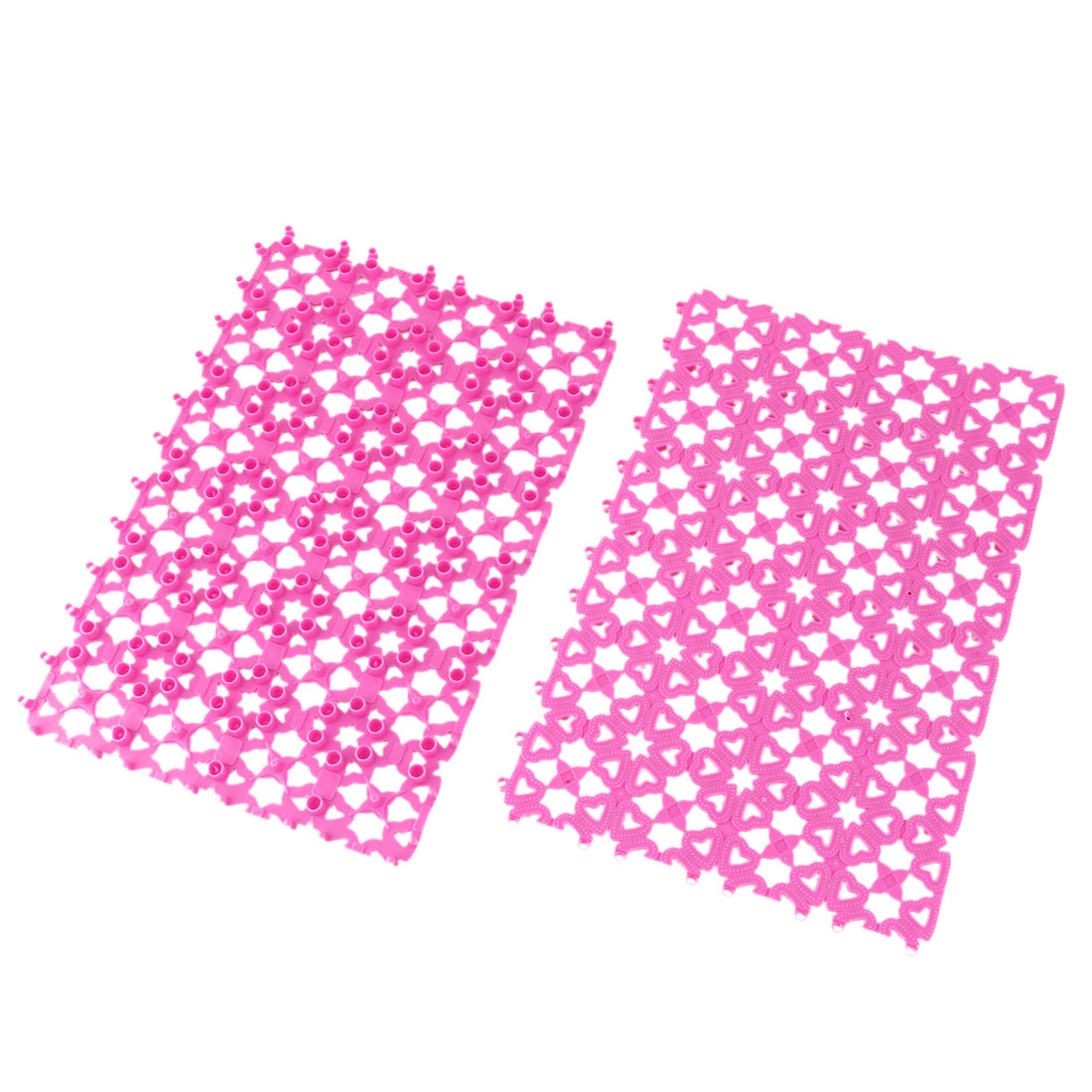 Bathroom Plastic Free Split Joint Water Resistant Anti-slip Shower Bath Mat Fuchsia 2pcs