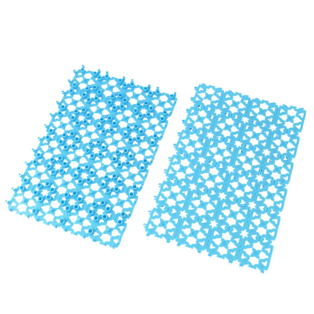 Bathroom Plastic Free Split Joint Water Resistant Anti-slip Shower Bath Mat Blue 2pcs