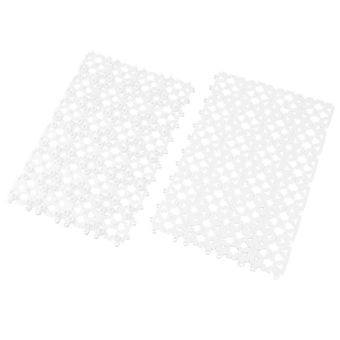 Bathroom Plastic Free Split Joint Water Resistant Anti-slip Shower Bath Mat White 2pcs
