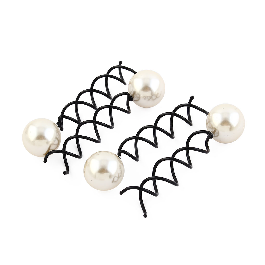 Women Lady Imitation Pearl Decor DIY Wedding Bridal Hair Clip Barrette White Black 4pcs