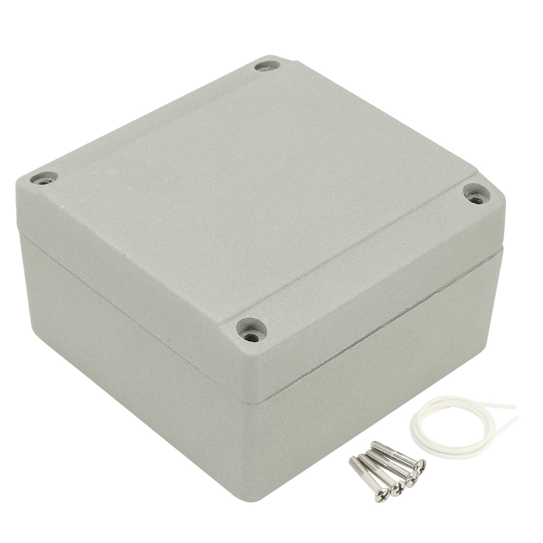 """3.9""""x3.9""""x2.3""""(100mmx100mmx60mm) Aluminum Junction Box Universal Electric Project Enclosure w Two Horns"""