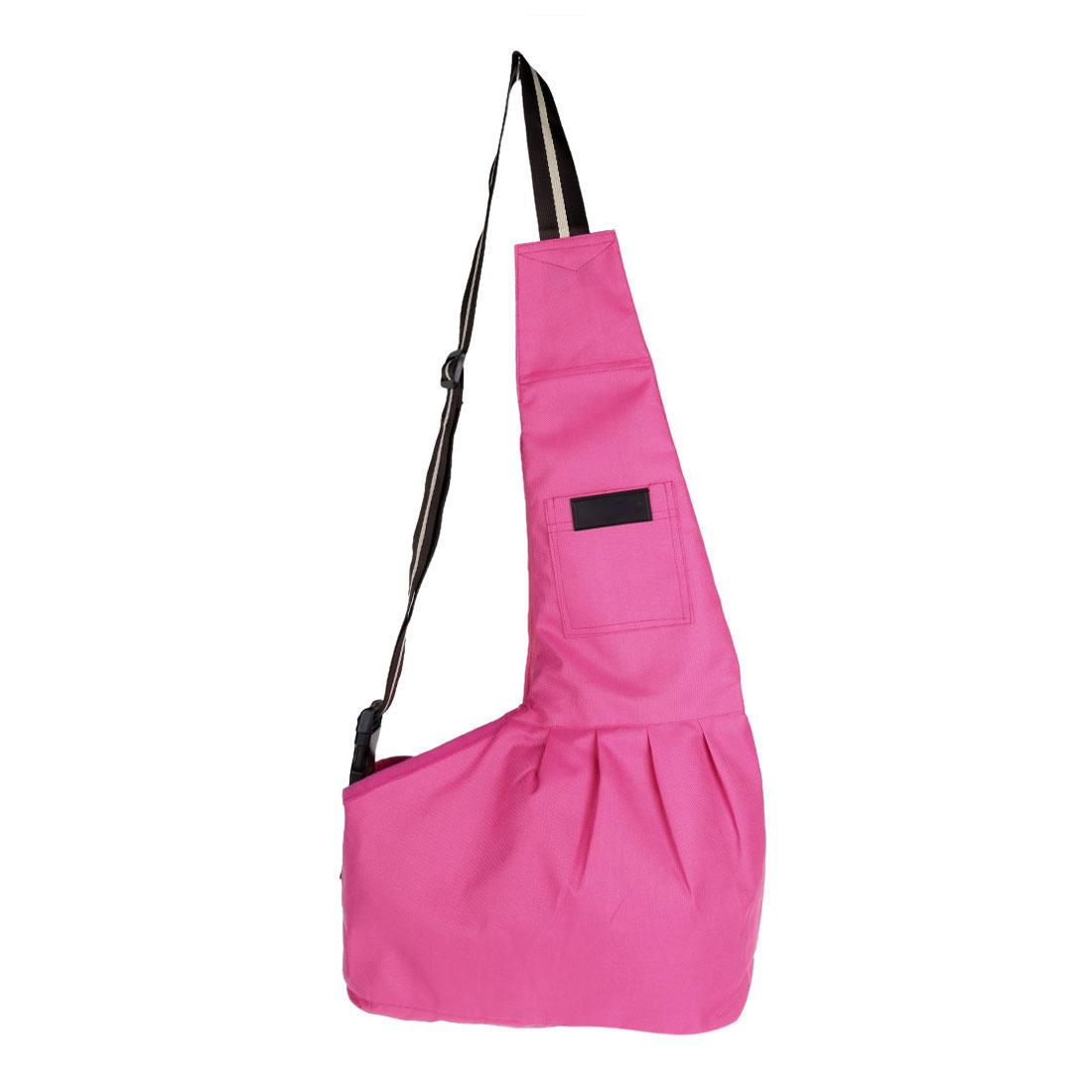 Outdoor Oxford Cloth Adjustable Single Shoulder Small Dog Cat Pet Carrier Bag Pink L