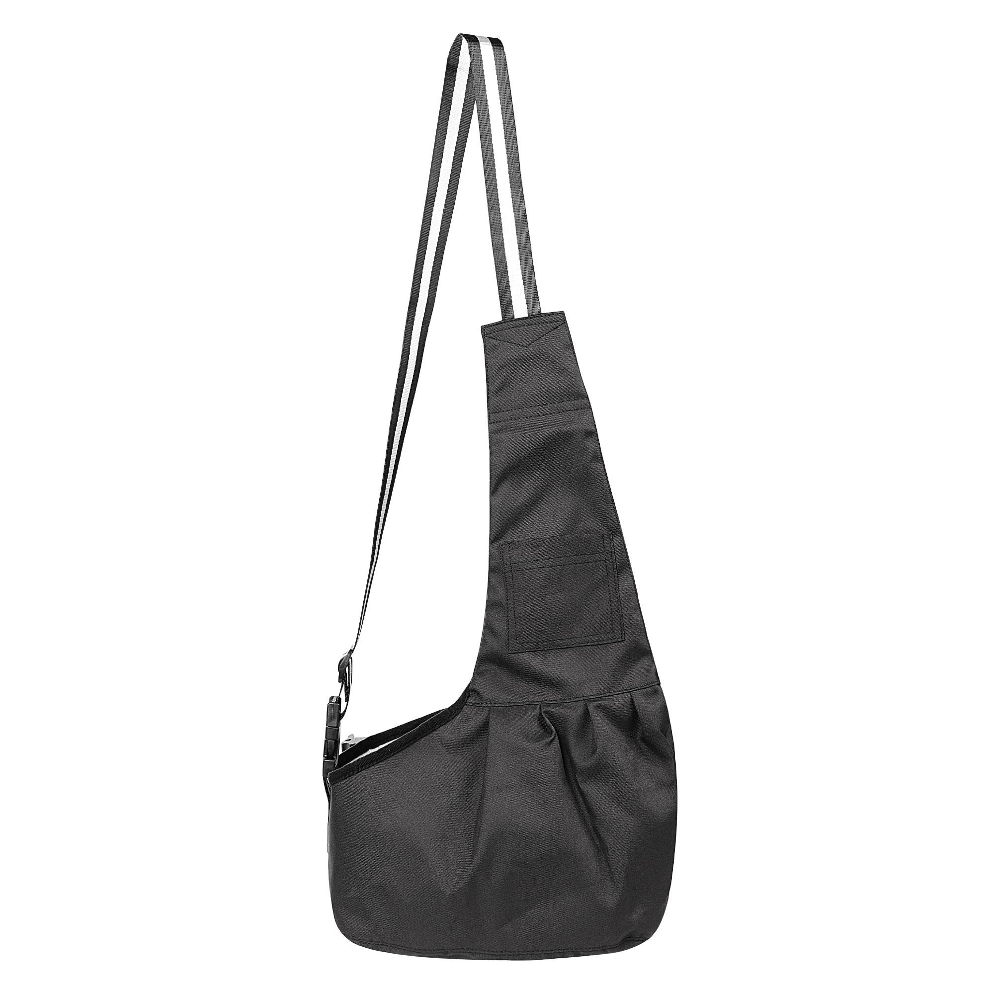 Outdoor Oxford Cloth Adjustable Single Shoulder Small Dog Cat Pet Carrier Bag Black M