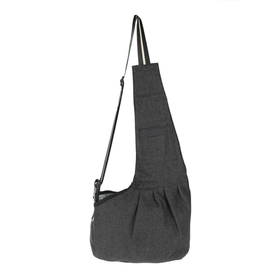 Travel Denim Adjustable Foldable Shoulder Portable Small Puppy Dog Cat Pet Carrier Bag Black S