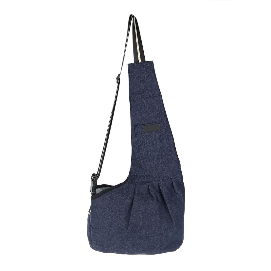 Travel Denim Adjustable Foldable Shoulder Portable Small Puppy Dog Cat Pet Carrier Bag Blue L