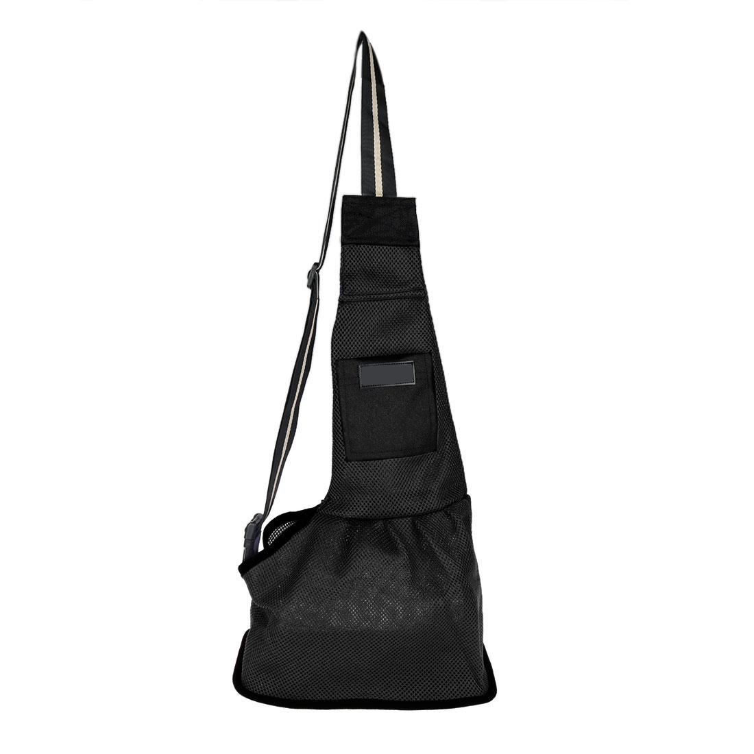 Travel Mesh Cloth Adjustable Single Shoulder Dog Cat Pet Carrier Bag Backpack Tote Black L