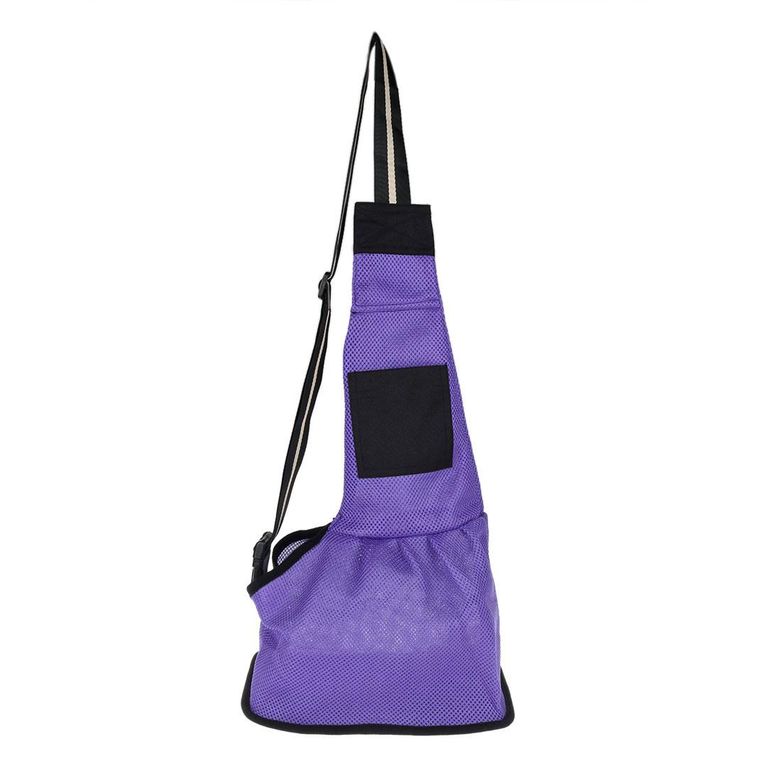 Travel Mesh Cloth Adjustable Single Shoulder Dog Cat Pet Carrier Bag Backpack Tote Purple S