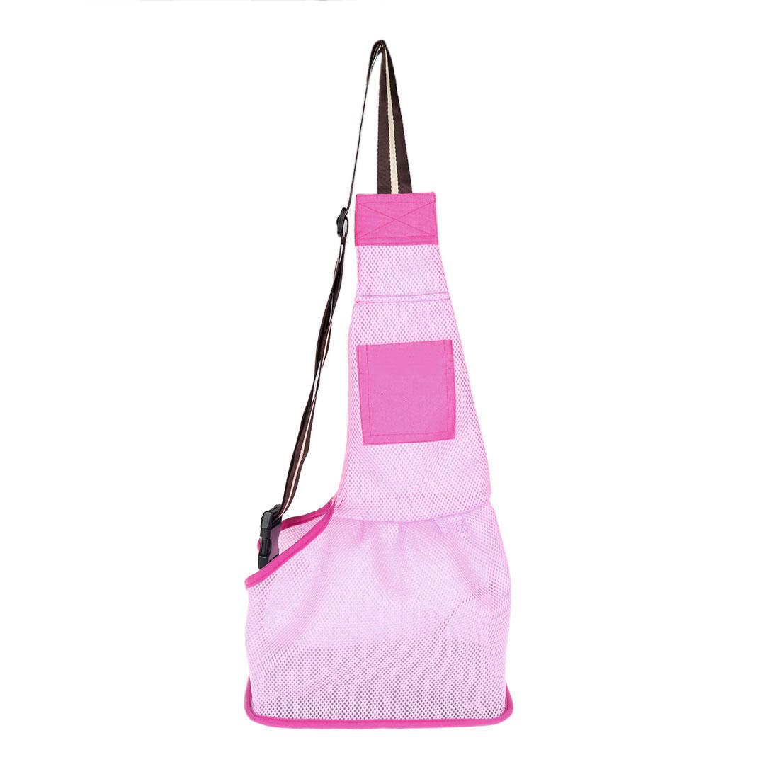 Travel Mesh Cloth Adjustable Single Shoulder Dog Cat Pet Carrier Bag Backpack Tote Pink L
