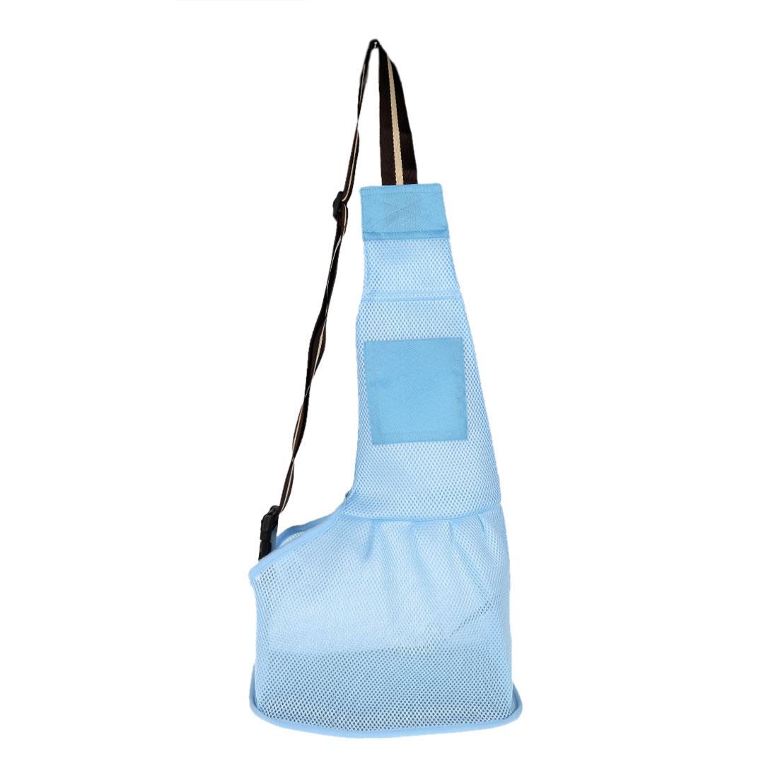 Travel Mesh Cloth Adjustable Single Shoulder Dog Cat Pet Carrier Bag Backpack Tote Blue L