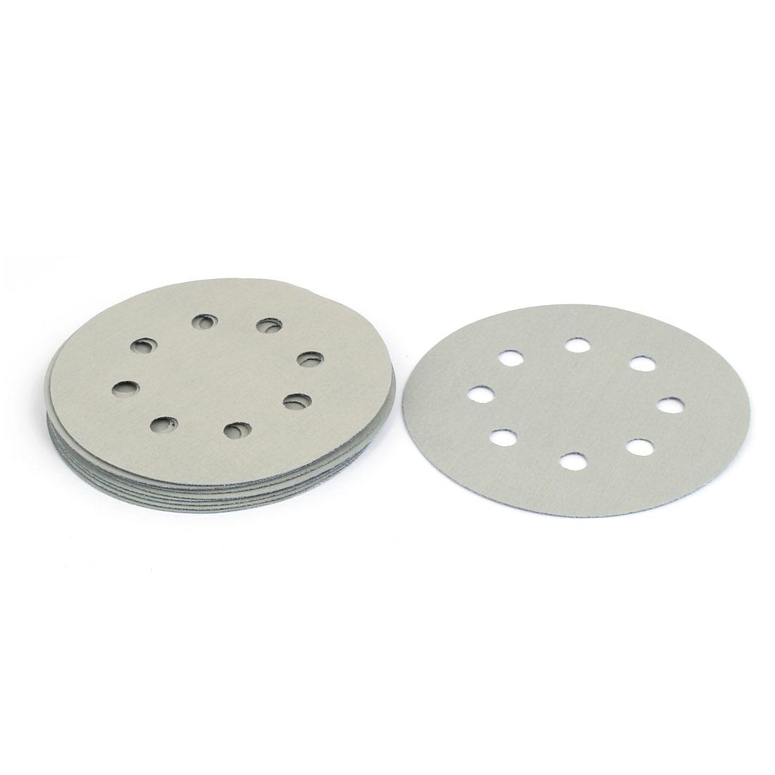 """5000 Grit 8 Hole 5"""" Diameter Sandpaper Hook Loop Sanding Disc 10 Pcs"""