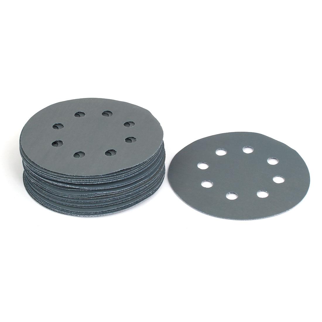 """3000 Grit 8 Hole 5"""" Diameter Sandpaper Hook Loop Sanding Disc 25 Pcs"""