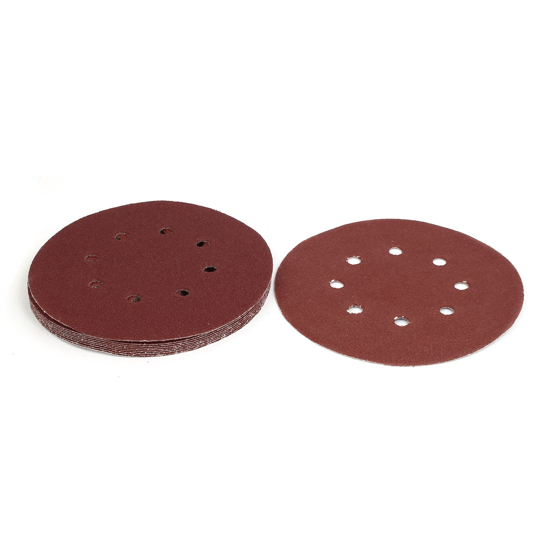 "60 Grit 8 Hole 7"" Diameter Sandpaper Hook Loop Sanding Disc 10 Pcs"