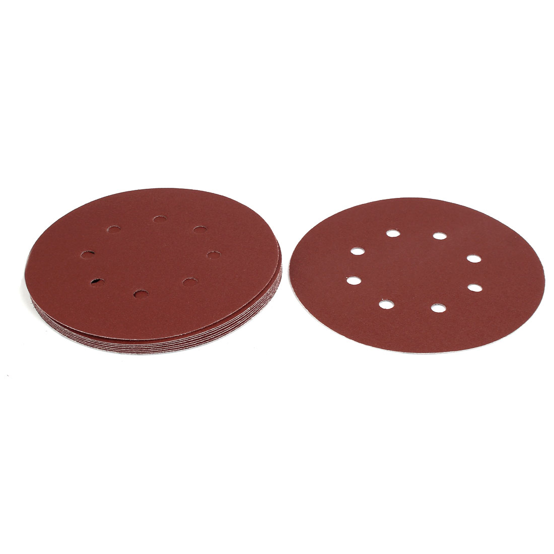 "120 Grit 8 Hole 7"" Diameter Sandpaper Hook Loop Sanding Disc 10 Pcs"