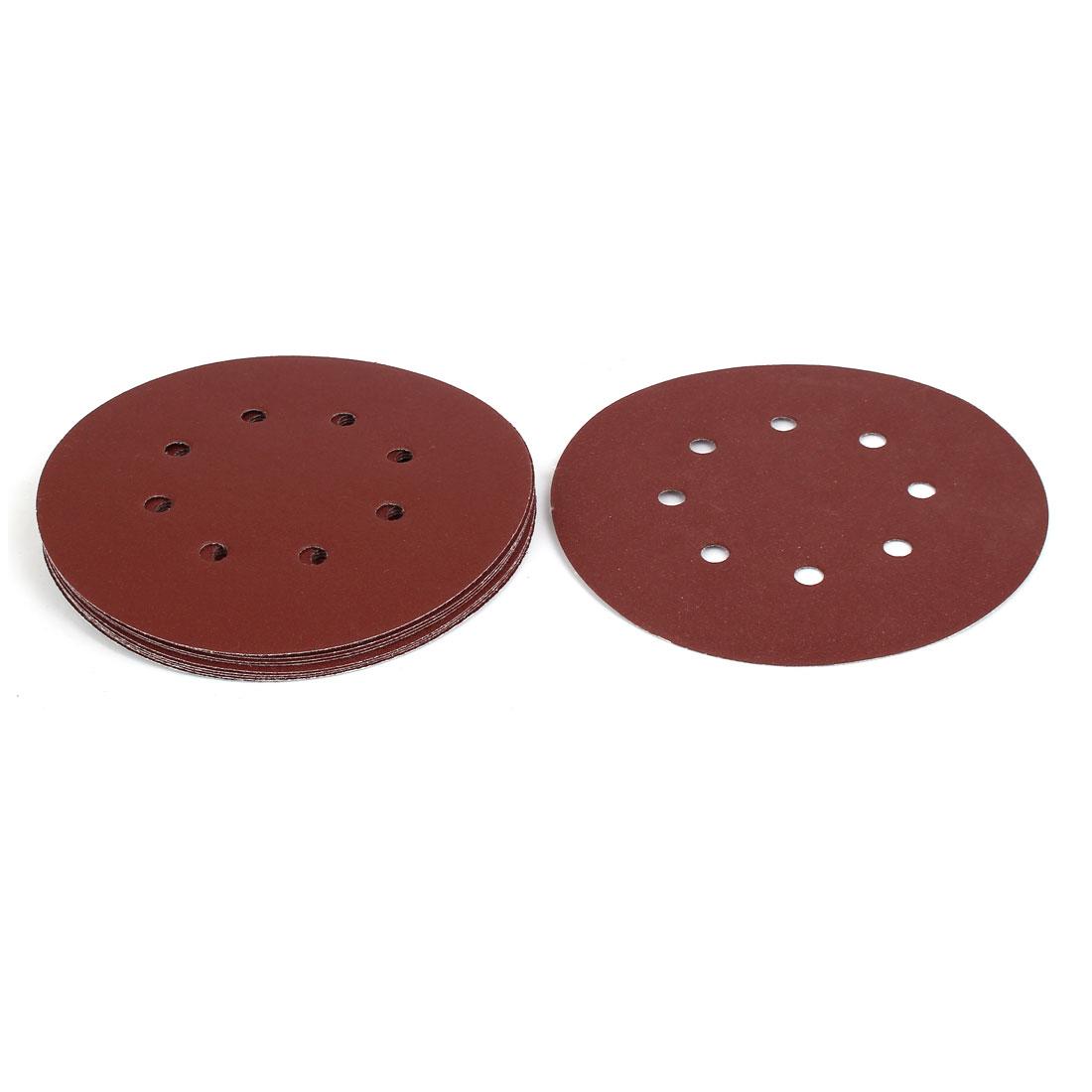 """150 Grit 8 Hole 7"""" Diameter Sandpaper Hook Loop Sanding Disc 10 Pcs"""