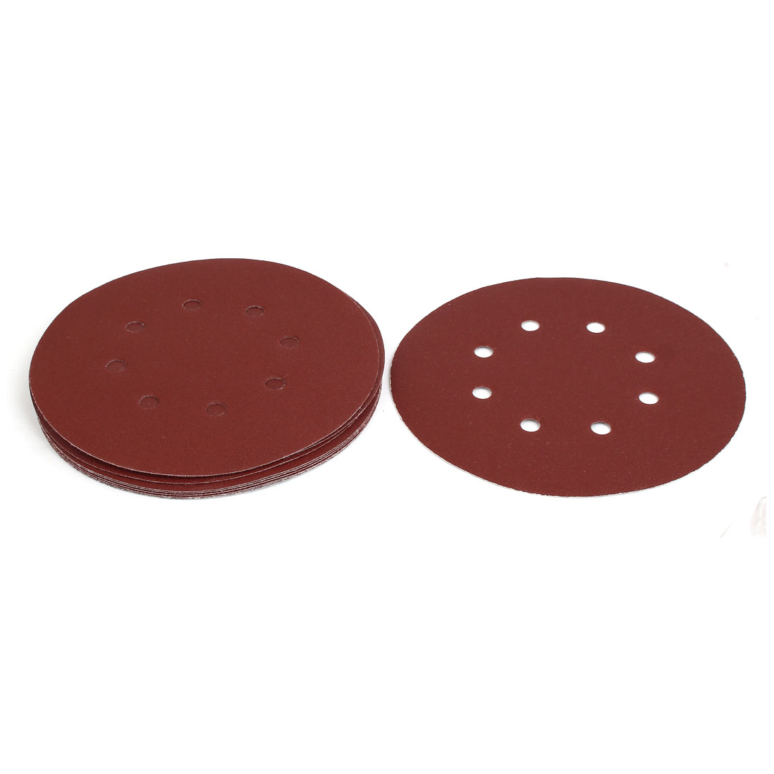 "180 Grit 8 Hole 7"" Diameter Sandpaper Hook Loop Sanding Disc 10 Pcs"