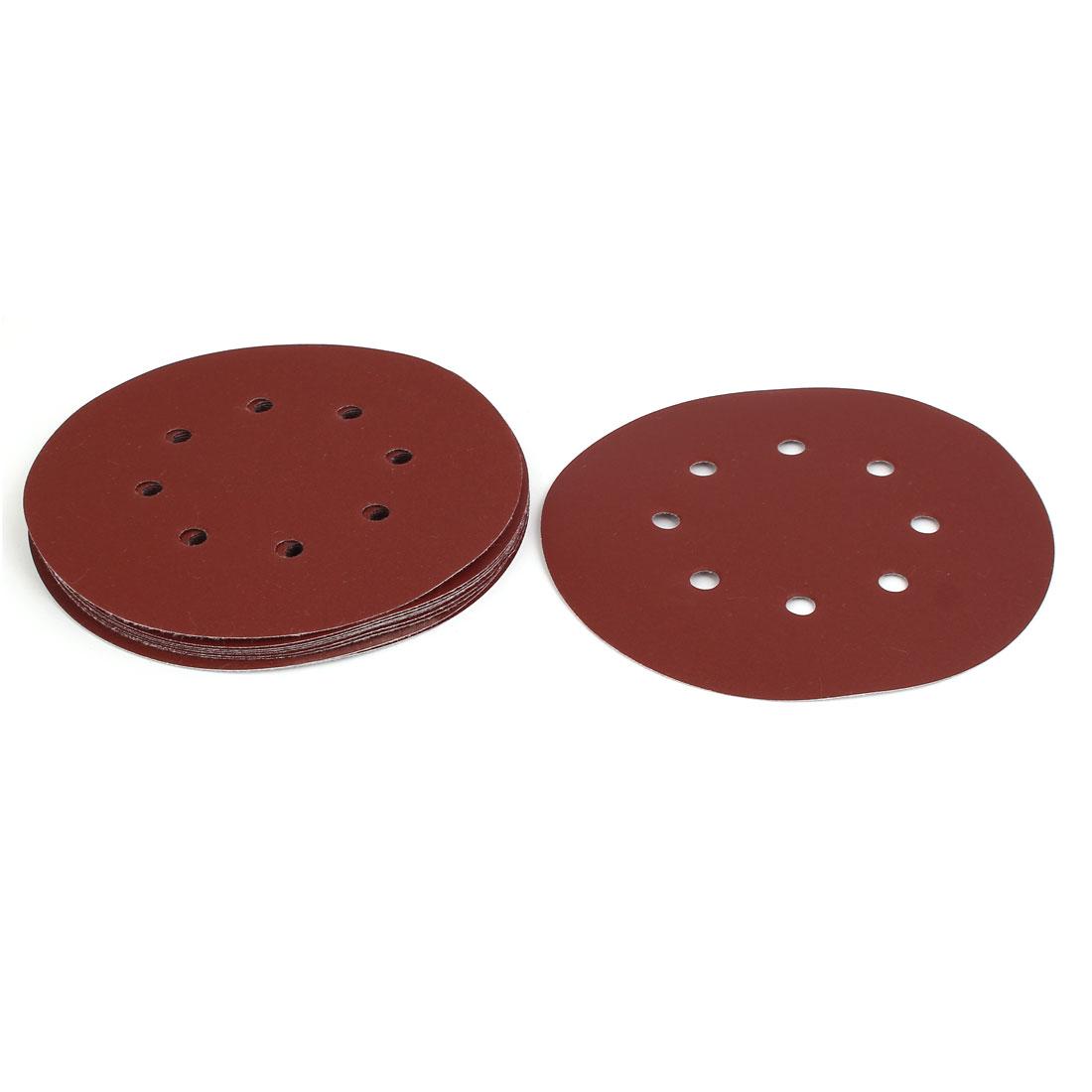 """320 Grit 8 Hole 7"""" Diameter Sandpaper Hook Loop Sanding Disc 10 Pcs"""