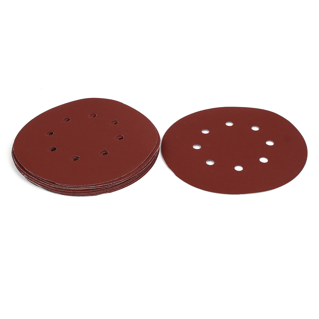 "600 Grit 8 Hole 7"" Diameter Sandpaper Hook Loop Sanding Disc 10 Pcs"
