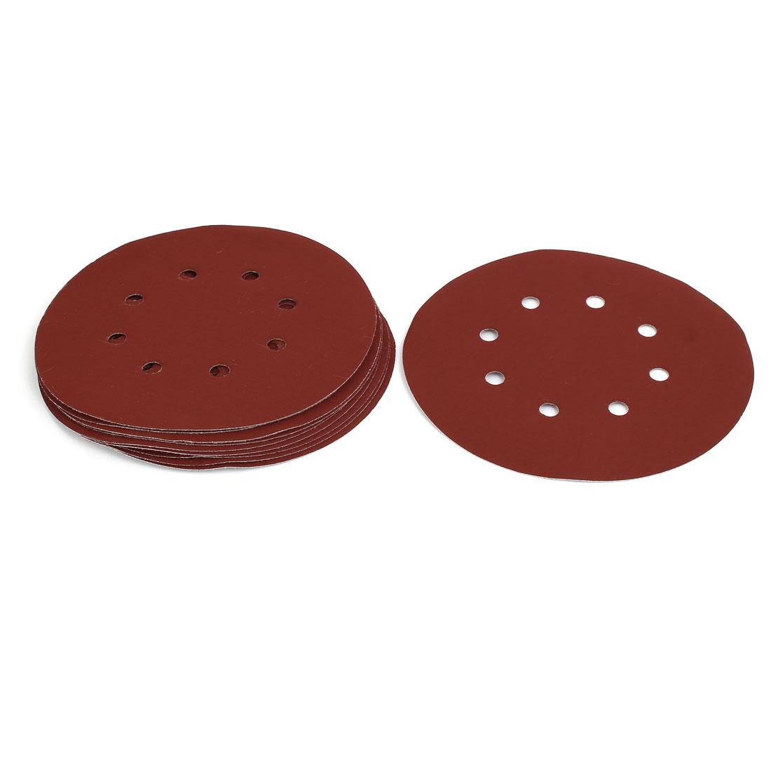 """1200 Grit 8 Hole 7"""" Diameter Sandpaper Hook Loop Sanding Disc 10 Pcs"""