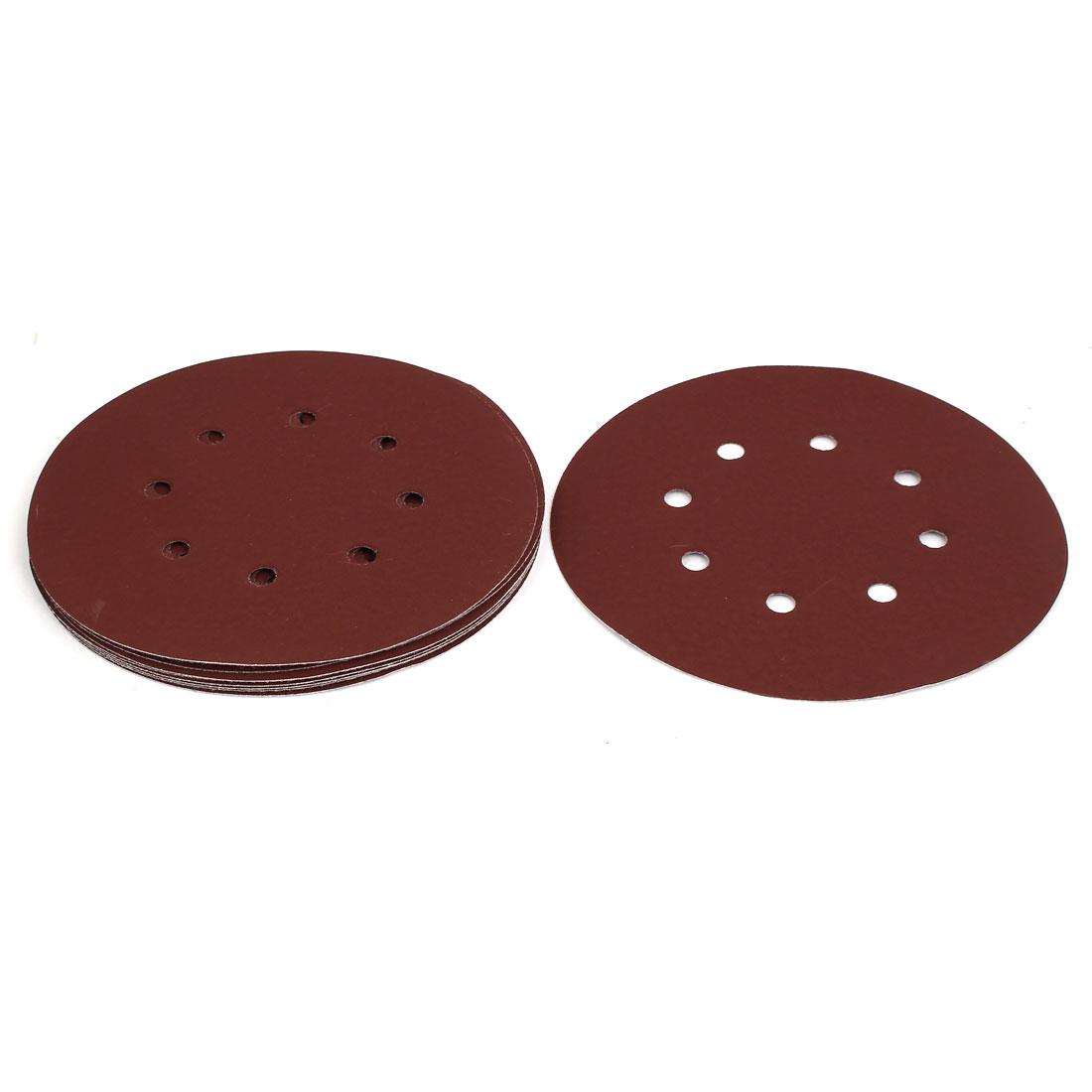 """2000 Grit 8 Hole 7"""" Diameter Sandpaper Hook Loop Sanding Disc 10 Pcs"""