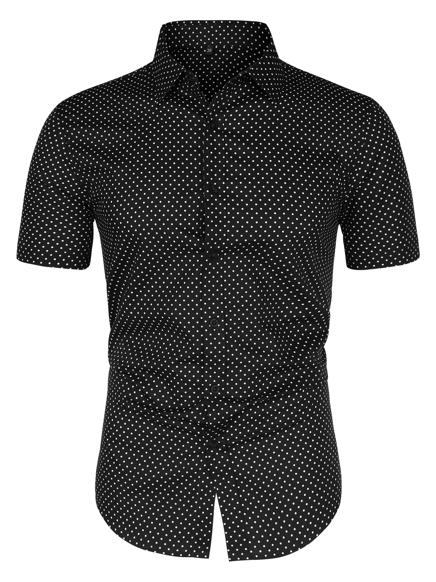 Men Short Sleeves Button Up Cotton Polka Dots Shirt Black L