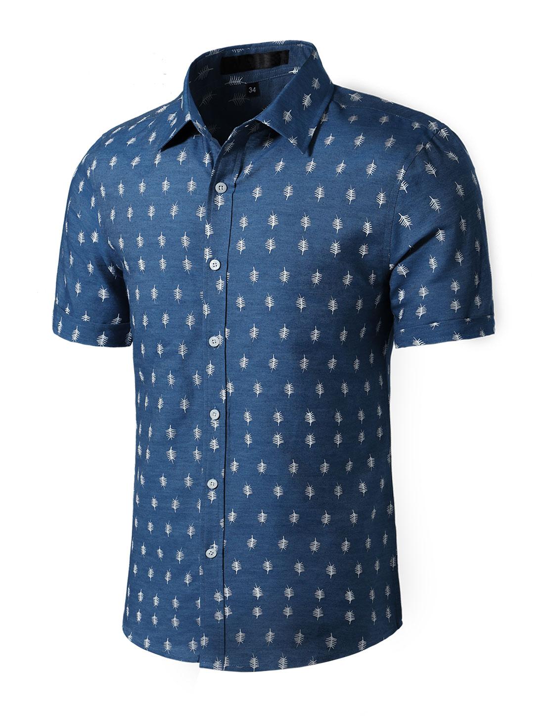 Men Short Sleeves Button Closed Leaves Prints Cotton Shirt Denim Blue M