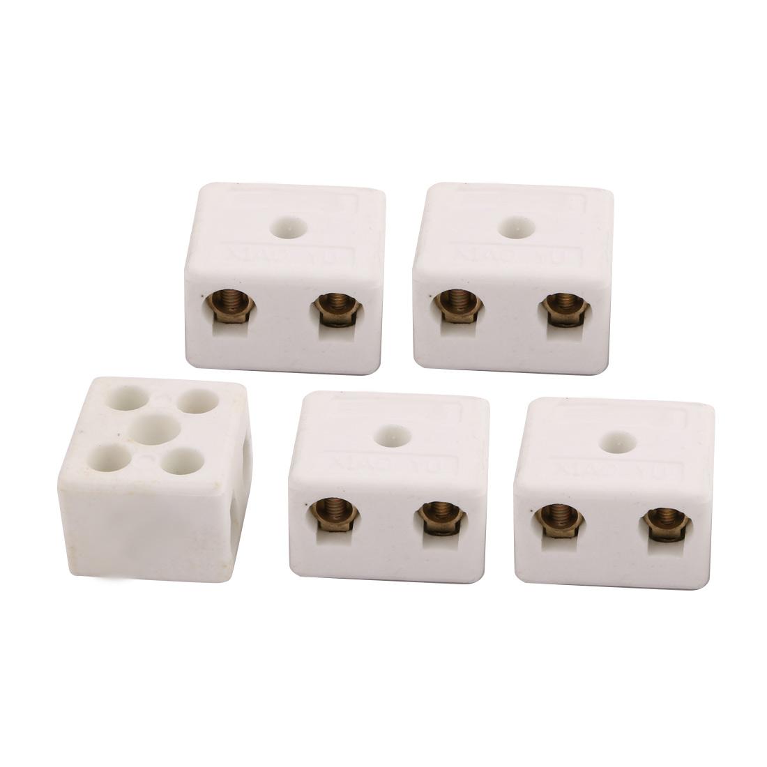 250V 15A 100W 2 Position 5 Hole Ceramic Terminal Blocks Wire Connectors 5pcs