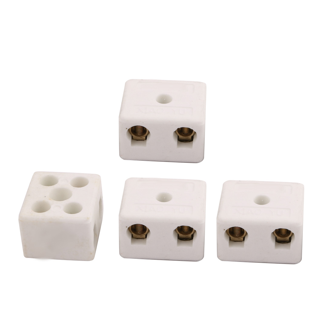 250V 15A 100W 2 Position 5 Hole Ceramic Terminal Blocks Wire Connectors 4pcs
