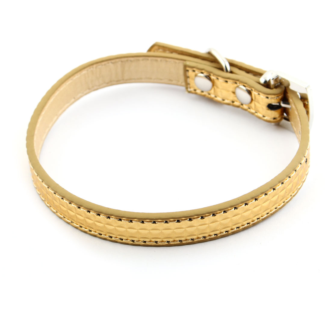 Pet Dog Puppy Cat Faux Leather Crown Pendant Adjustable Traction Strap Buckle Collar Belt Gold Tone XS