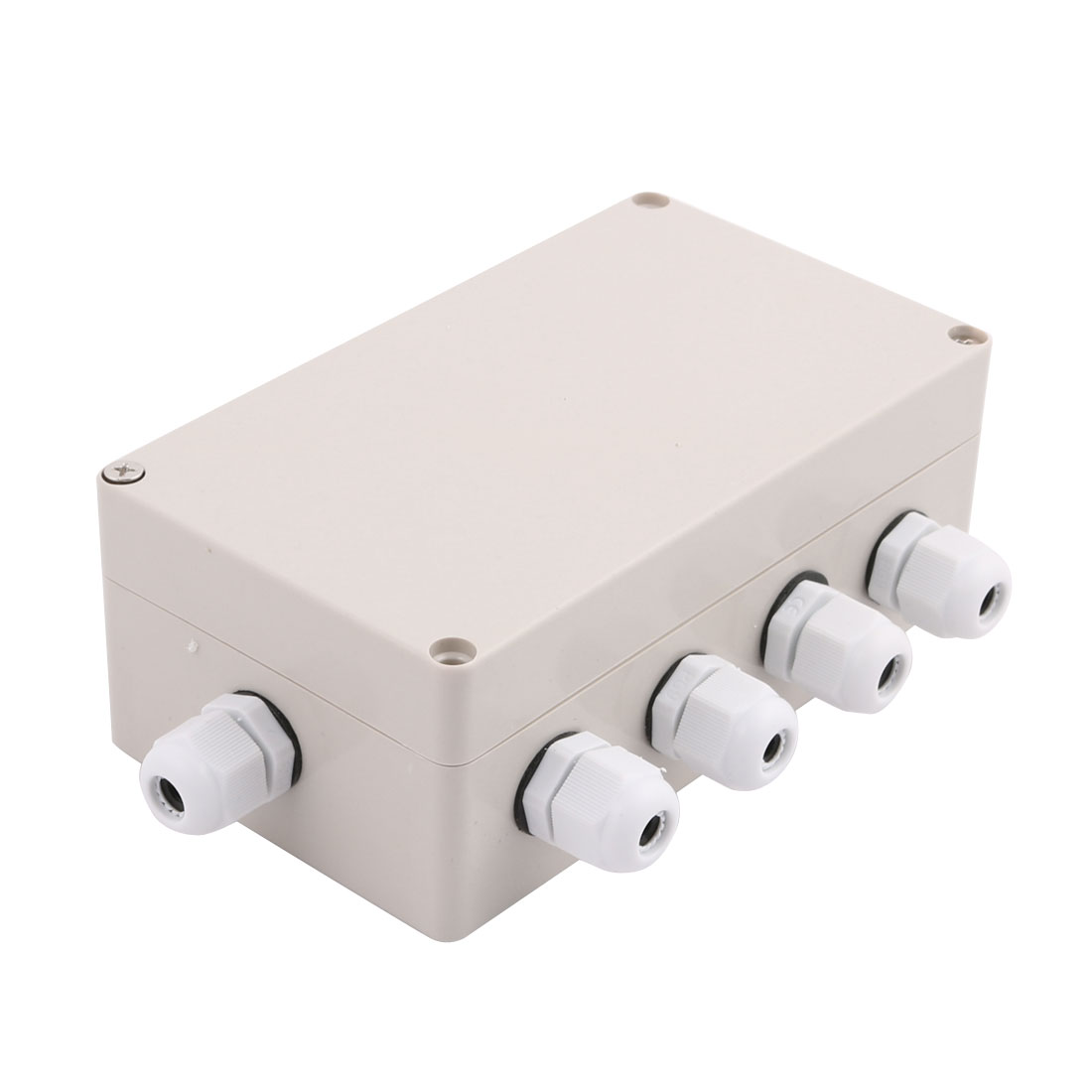 Set 158x90x60mm 2 Inlet to 4 Outlet Junction Box w Connector Gland