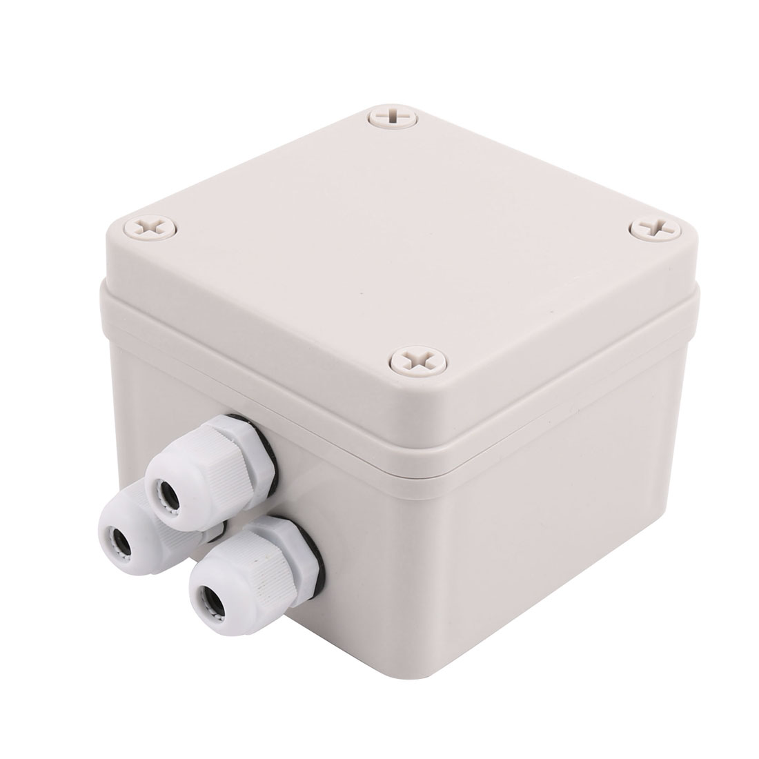 Set 100x100x75mm 2 Inlet to 3 Outlet Dustproof Junction Box w Connector Gland