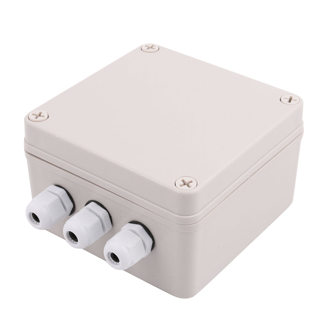 Set 125x125x75mm 3 Inlet to 3 Outlet Dustproof Junction Box w Connector Gland