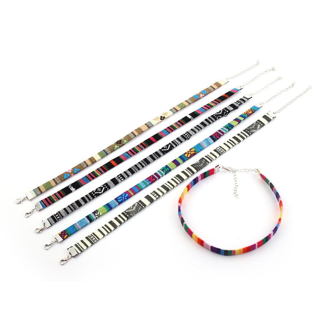 Ethnic Style Adjustable Fabric Embrodered Neck Decoration Clavicle Necklace Chain Collar Choker Multicolor 6 PCS