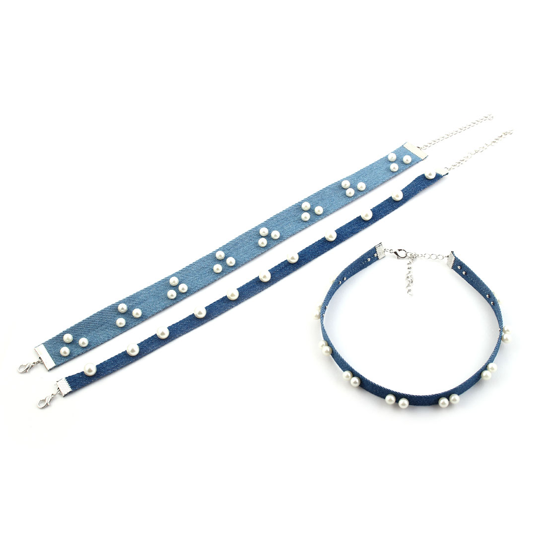 Woman Denim Jeans Imitation Pearl Decoration Clavicle Necklace Chain Collar Choker 3 in 1