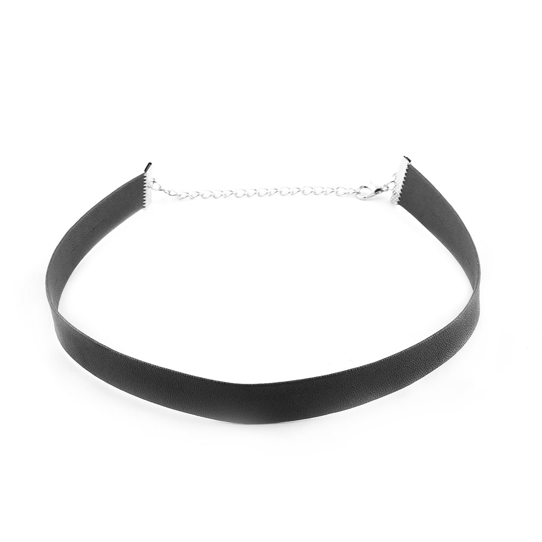 Party Woman Adjustable Faux Leather Neck Decor Clavicle Necklace Ribbon Chain Collar Choker Dark Gray