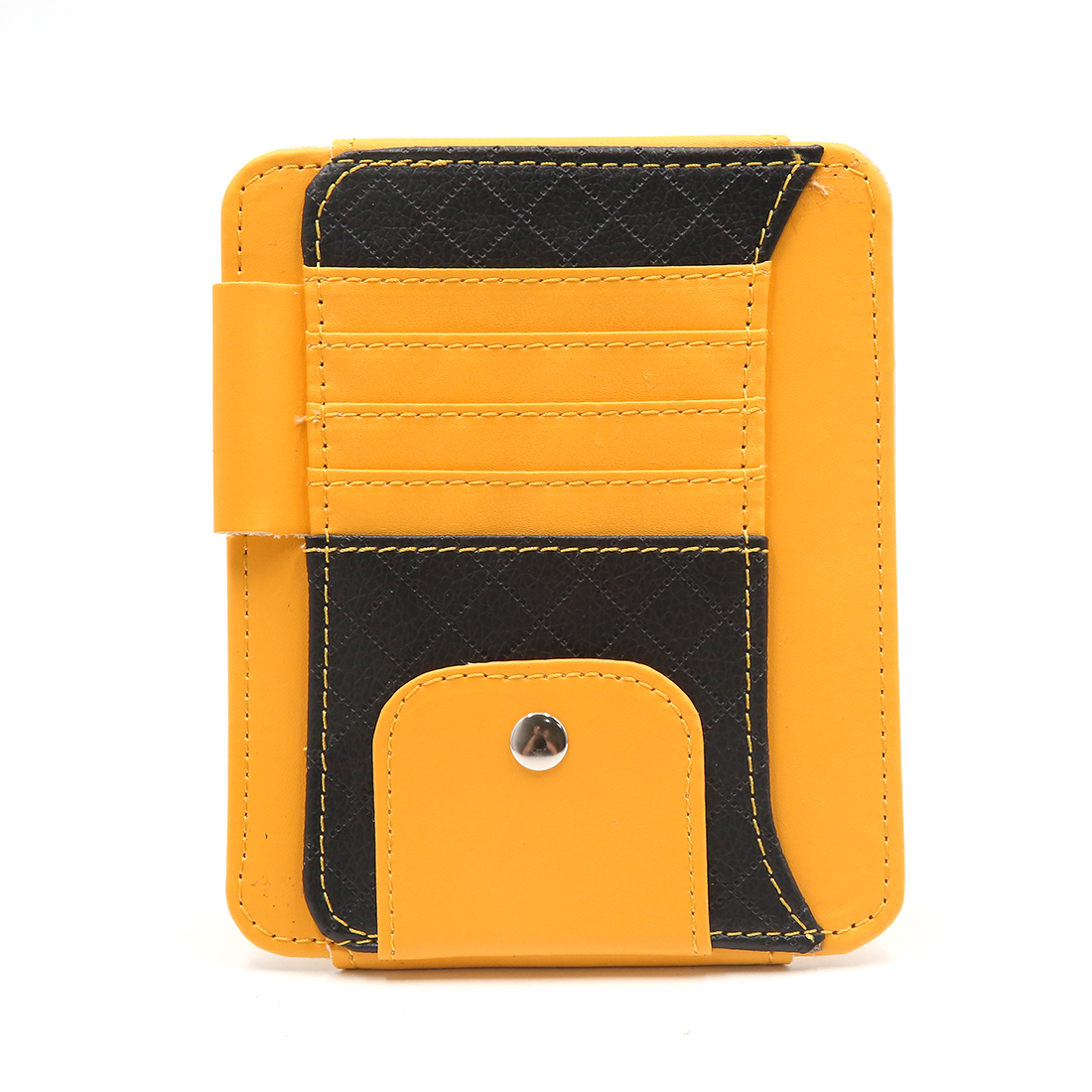 Yellow Faux Leather Car Sun Visor Organizer Card Sunglasses Storage Holder Pouch Bag