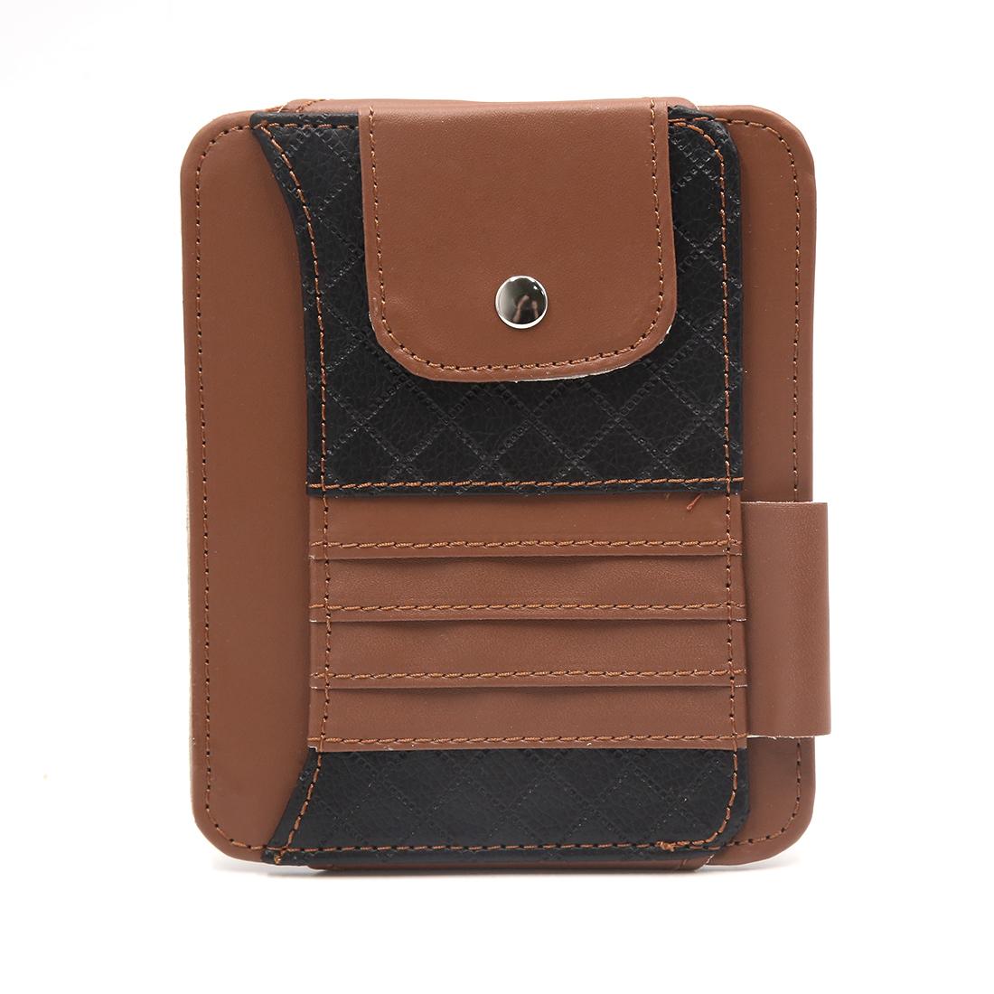Brown Faux Leather Car Sun Visor Organizer Card Sunglasses Storage Holder Pouch Bag