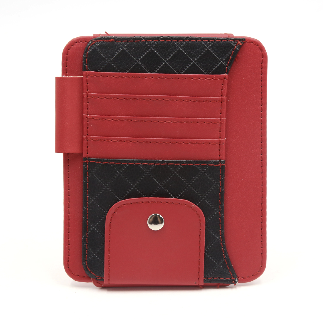 Red Faux Leather Car Sun Visor Organizer Card Sunglasses Storage Holder Pouch Bag