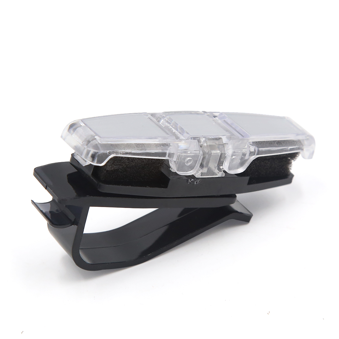 Silver Tone Plastic Car Auto Sun Visor Double Ends Sunglasses Glasses Card Holder Clip