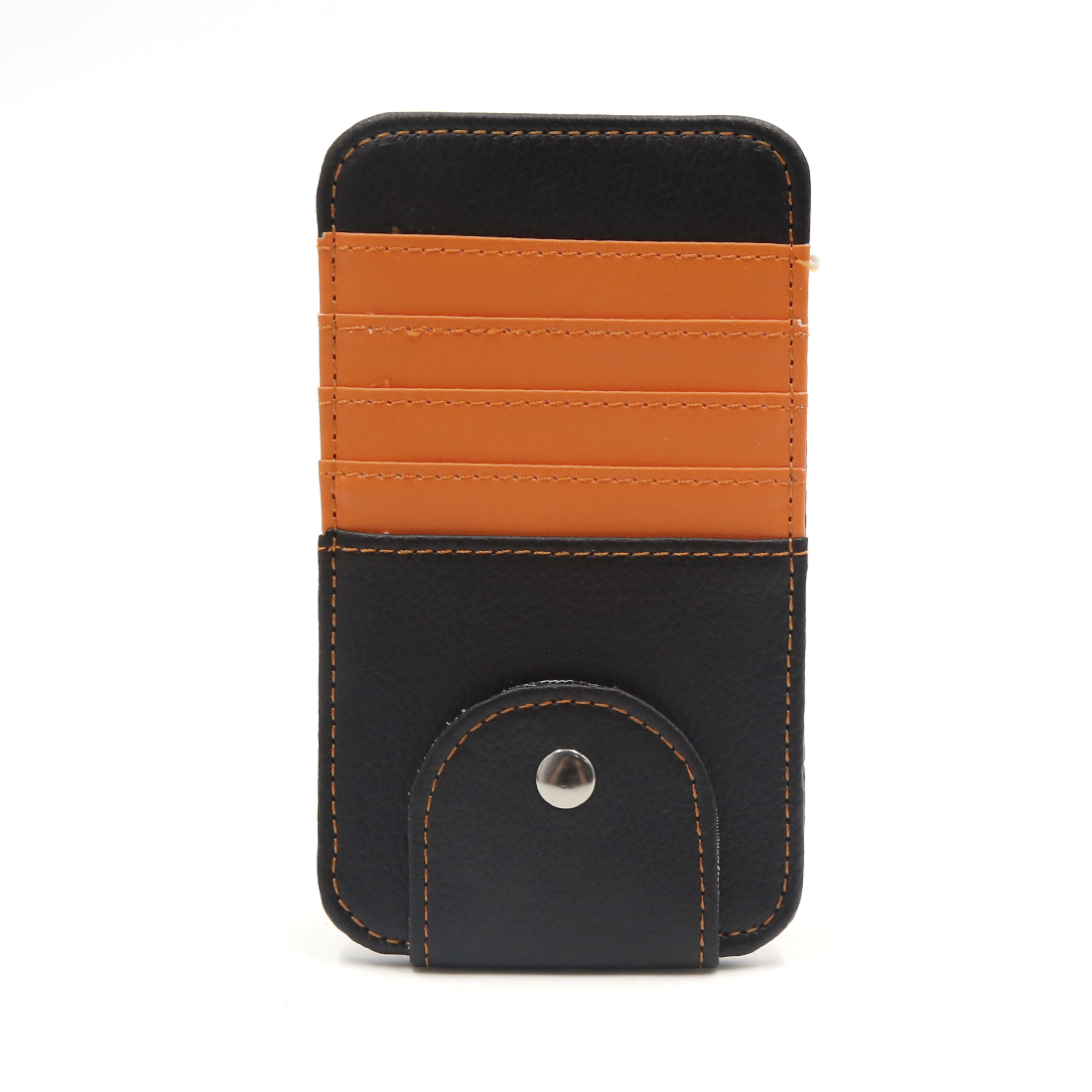 Orange Faux Leather Car Sun Visor Organizer Card Glasses Storage Holder Case Bag
