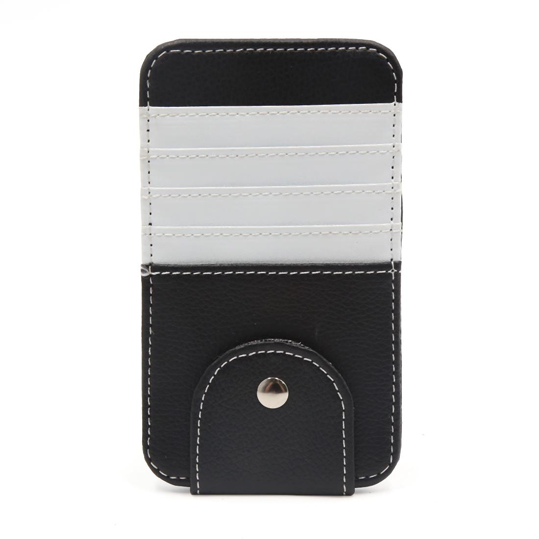 White Faux Leather Car Sun Visor Organizer Card Glasses Storage Holder Case Bag